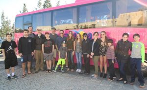 teenagers and the tour bus