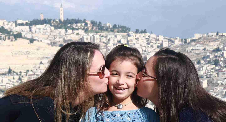 Kissing in Jerusalem Israel