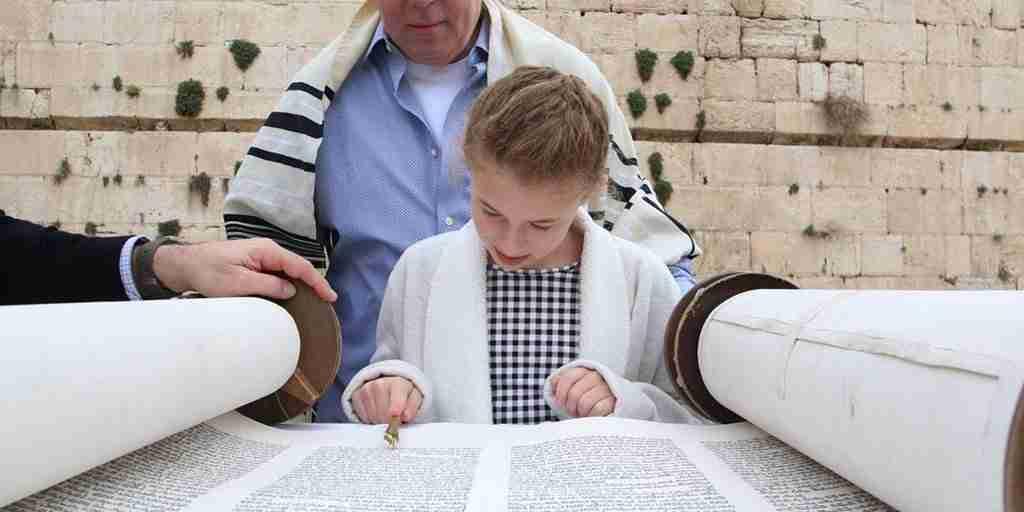 Bat mitzvah tour in Israel, reading the Torah